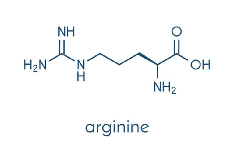 Imagem mostra a fórmula da arginina