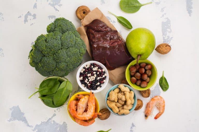 Imagem de alimentos que contem ácido fólico.