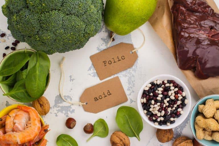 Imagem de alimentos que contém ácido fólico.