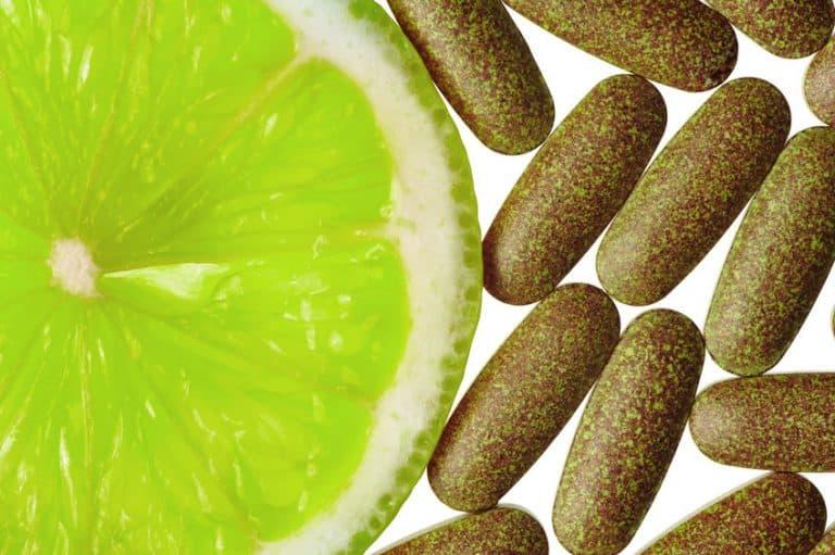 Imagem de limão e pílulas.