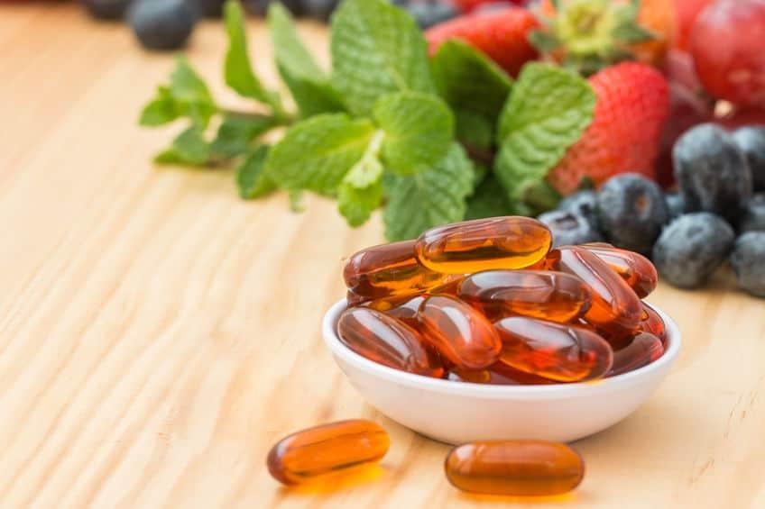 Imagem de comprimidos de vitamina.