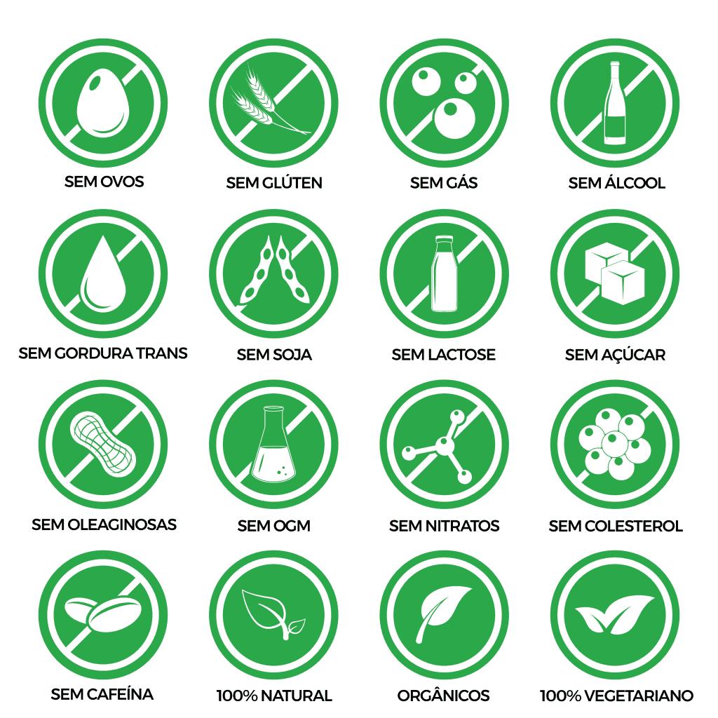 símbolos que mostram alimentos livres de algumas substâncias