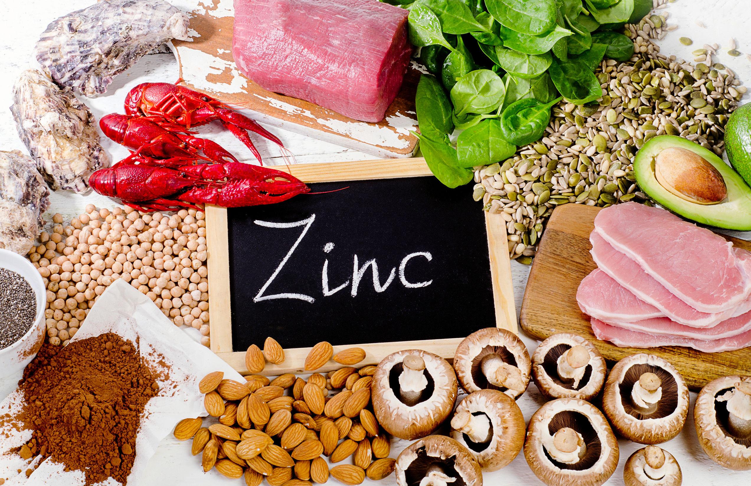 Alimentos mais ricos em zinco. Comida de dieta saudável. Configuração plana