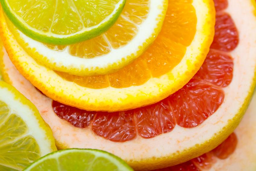 frutas cítricas de todos os tipos