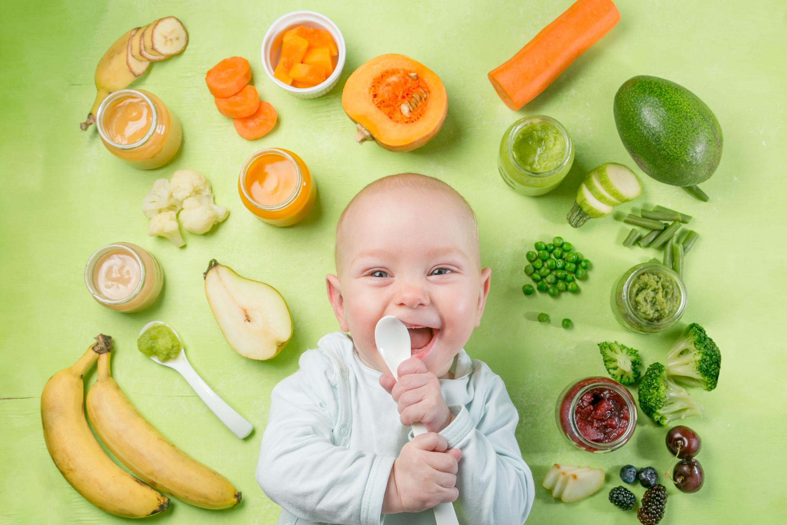 frutas e vegetais ricos para bebês