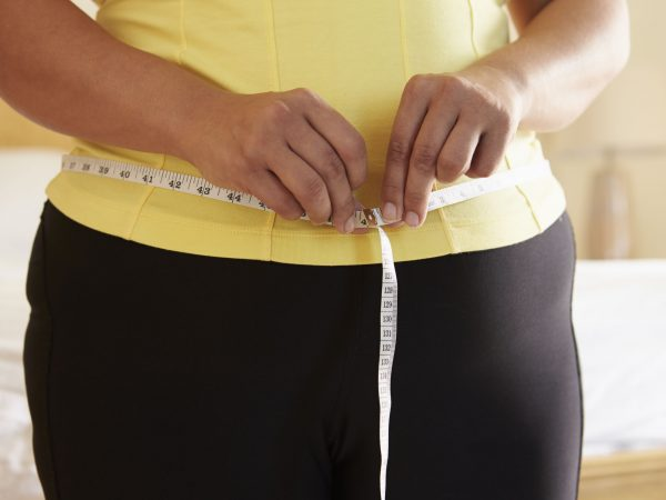 33519172 – close up of overweight woman measuring waist