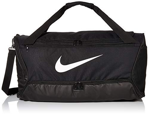 Bolsa esportiva Nike Brasilia Training média, durável Nike para mulheres e homens com alça ajustável, preto/preto/branco