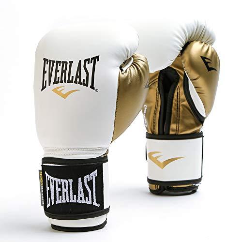 Luvas de treinamento femininas Everlast Powerlock, 340 g, branco/dourado