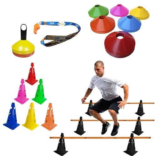 Kit 8 Cones Agilidade Furado Flexível C/Barreira Funcional (colorido)