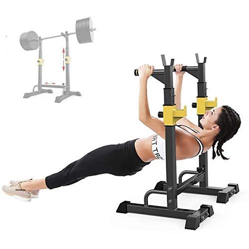 PLAYH Suporte para halteres e halteres para agachamento, largura e altura ajustável para academia em casa, até 250 kg