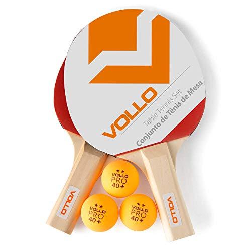 Vollo Sports Kit Tenis de Mesa com 2 Raquetes e 3 Bolas, Laranja