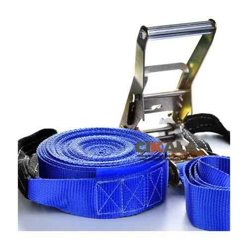 Kit Slackline Cinta Alça Catraca Protetor Bolsa Azul15,7m CIKALA