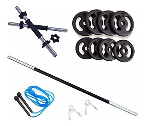 Kit 20kg Anilhas+2 Barras 40cm Com Rosca+1 Barra 120cm+Corda