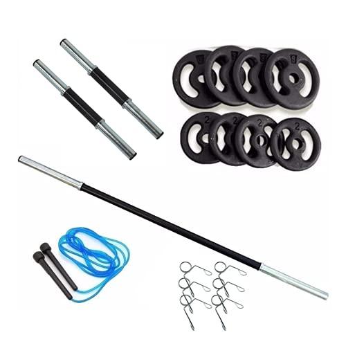Kit 20kg Anilhas+2 Barras 40cm Com Presilhas+1 Barra 120cm+Corda