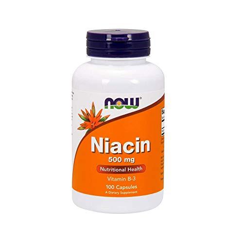 Suplementos NOW, Niacina (Vitamina B-3) 500 mg, Vitamina Essential B-Group *, Saúde Nutricional, 100 Cápsulas