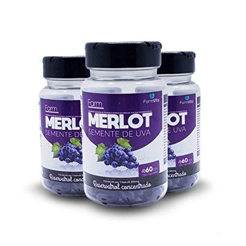 Kit Resveratrol Farm Merlot Reduz Colesterol 3 Potes(750Mg)