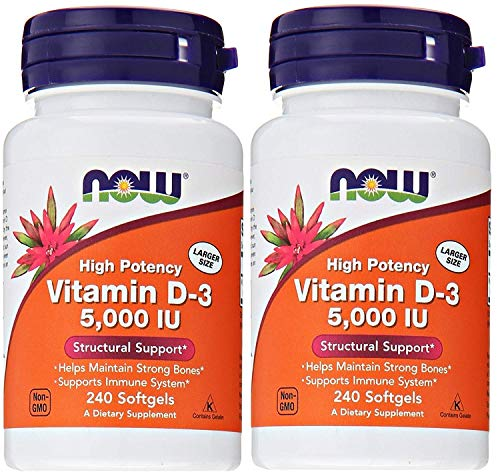 Now Foods Vitamina D-3 5.000 UI, 240 Count (Pack of 2)