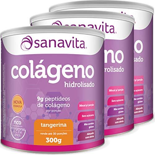 Kit com 3 potes de Colágeno Hidrolisado Tangerina Sanavita 300g