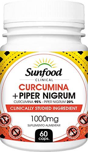 Cúrcuma Açafrão da Terra Pimenta Preta Curcumina Pepper Nigrun 1000 mg Sunfood 60 Cápsulas